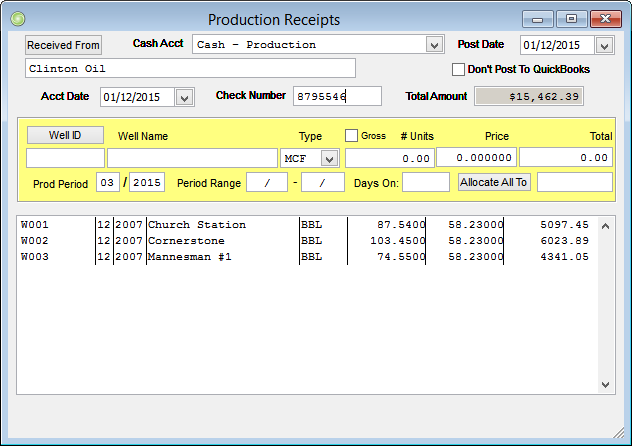 Production Receipts Screen
